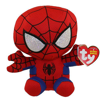 """Ty Beanie Baby Avengers Marvel 6"""" SPIDER-MAN Spiderman New w/ Heart Tags MWMT's"""
