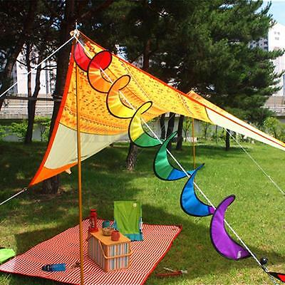 Curlie Tail Rainbow Spiral Windmill Colorful Wind Spinner Tent Garden Decoration