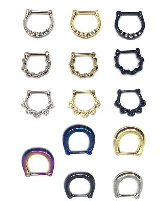Hinged Clicker Septum Ring Hoop Tragus Nose Ear Ring  Helix Ring