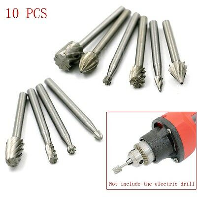 10pcs Mini Round HSS Rotary Burr Set Wood Carving File Rasp Drill Bits