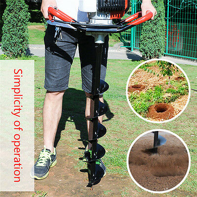 52cc Petrol Earth Auger Fence Post Hole Borer Ground Drill + 3 Bits UK
