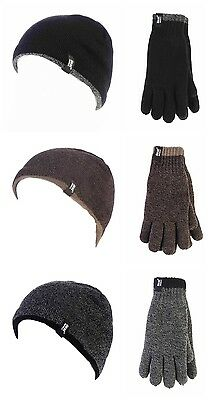 Men Heat Holders Contrast Trim Weaver Winter Warm Thermal Hat & S/M Gloves