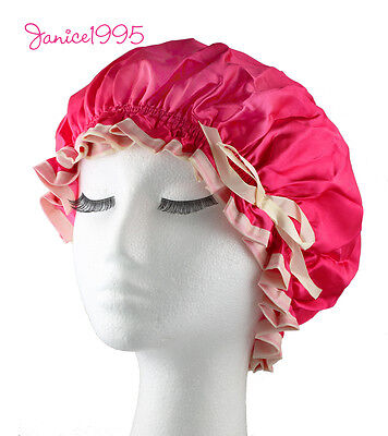 MIRATE Quality Lined Waterproof Satin Shower Cap FUCHSIA PINK  & CREAM