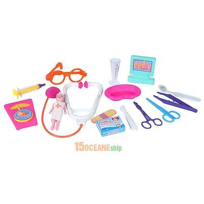 15PCS Kids Doctor Medical Tool Play Carry Case Kit Education Role Toy Gift Set