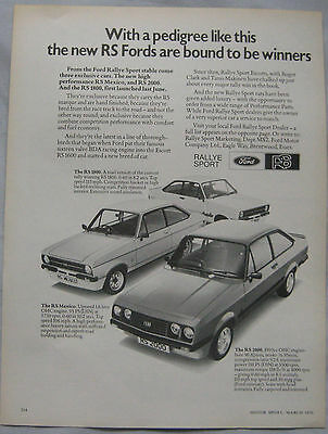 1976 Ford Escort RS Mexico, RS1800 & RS2000 MkII Original advert No.1