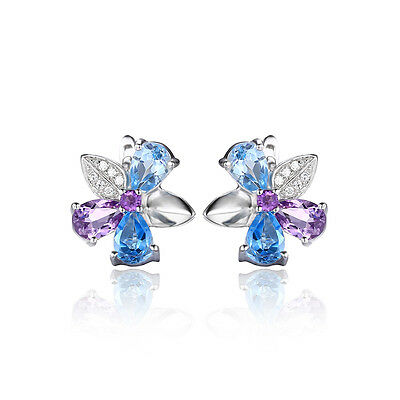 JewelryPalace Natural Sky Swiss Blue Topaz Amethyst Stud Earrings 925 Silver
