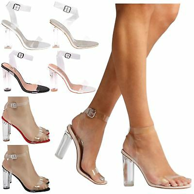 Reagan Womens High Clear Heels Ankle Strappy Open Toe Ladies Sandals Shoes Size