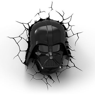 Star Wars Darth Vader 3D Led Wall Light With Crack Stickers New