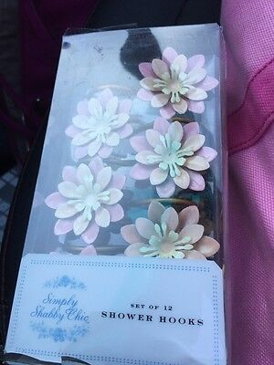 Nwt Simply Shabby Chic Pink Flower Shower Curtain Hooks Rings Rachel Ashwell