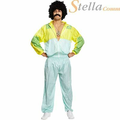 Mens Shell Suit 80s Scouser Costume Tracksuit Fancy Dress Stag Do Adult Outfit