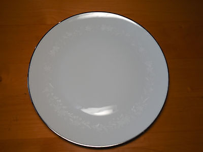 "Kenmark Japan VENETIAN LACE Set of 4 Dinner Plates 10 1/2"" White Floral Platinum"