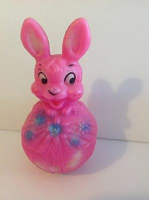 KITSCH 50s/60s pink rabbit bunny toy made by BOOTS England Vintage
