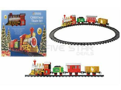 14Pc Childrens Christmas Train Track Toy With Sounds & Lights Xmas Tree Gift