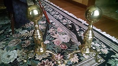 "VIRGINIA METALCRAFTERS  ""HAMPTON"" Brass Andirons"