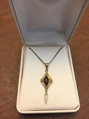 Vintage 10k Yellow Gold Garnet Pearl Lavaliere Necklace