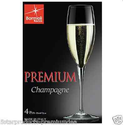 New Bormioli Rocco Premium Champagne Flute Set Of 4 Party Drinking Clear Event