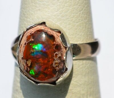 MEXICAN NATURAL MATRIX FIRE OPAL & 925 Sterling Silver Ring Sz 5.5 Jewelry Taxco