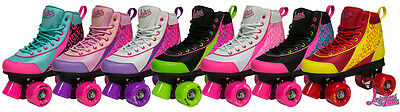 NEW Luscious Retro Quad Disco Roller Skates - Girls Boys Adult Size Jnr 11 UK 10