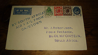 1929 GB PUC ½d, 1d, 1½d and 2½d Set via South Africa Capetown/First Flight Cover