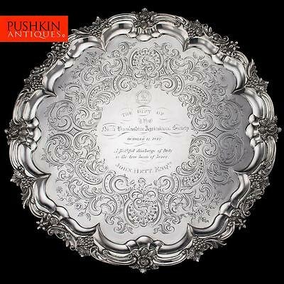 ANTIQUE 19thC VICTORIAN SOLID SILVER LARGE SALVER TRAY, J E TERREY c.1842