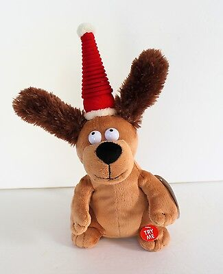 Ear Flapping Dog Christmas Shout Tags Animatronic Singing Dancing See Video