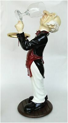 2' Tall Snobby Butler Statue Wine Waiter With Glass in Tuxedo Restaurant Decor