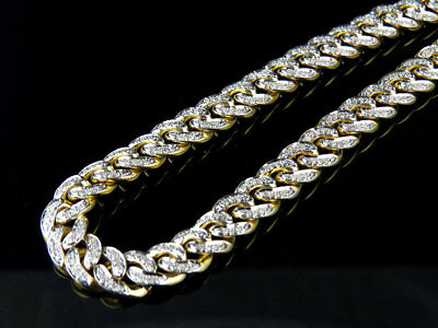 Mens Solid 10K Yellow Gold Miami Cuban Link 8 MM Real Diamond Chain Necklace 5ct