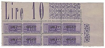 Trieste A,10 L. Pacchi Post N. 18A, Quartina Con Sovr Modificata Adf Rif 461-102