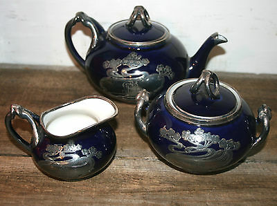 Antique ART NOUVEAU Sterling  OVERLAY Porcelain TEAPOT COFFEE TEA SET Limoges