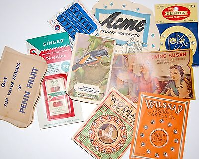 Lot 9 Vintage / Antique Sewing Supplies Needle Cases Machine Needles Snaps ++