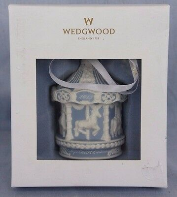 2013 Wedgwood Fine Porcelain Ornament Babys First Christmas Carousel Blue Boy
