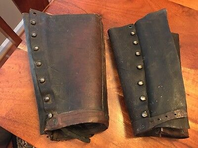 Vintage Military Leather Leggings Spats Gaiters Boot Covers Milford 100 Yrs (JD)