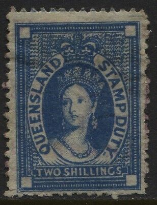 Queensland 1871-1872 2/- Postal Fiscal SG #F19 Faint Used ?