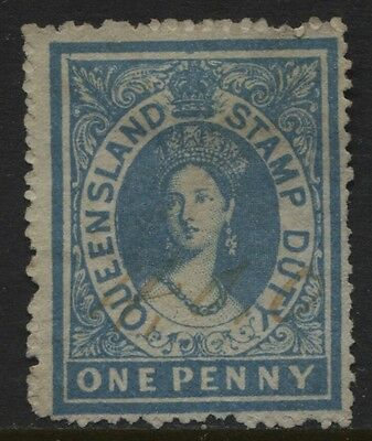 Queensland 1866-1868 1d Postal Fiscal SG #F9 Used Pen Cancel