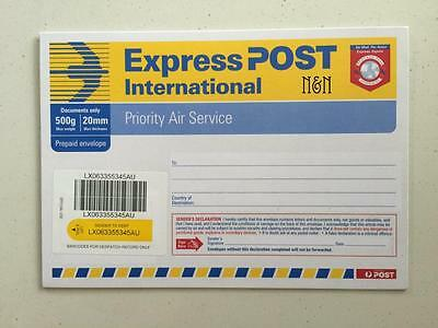 10 x Aust. Post International Express Envelopes C5 - Ask for FREE Postage