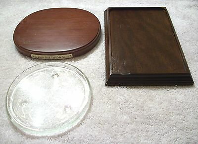 3 Display Stands for Collective Ornaments Oval Wood Rectangular Glass Holder