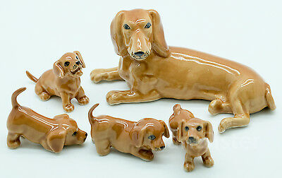 Figurine Animal Ceramic Statue Brown Dachshund Dog Family - CDG074