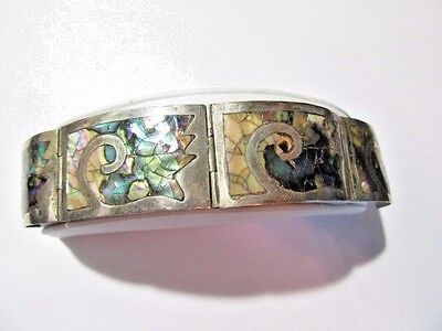 Sterling Silver 925 Mexico Abalone Bracelet Signed Jpm & Hallmarked Panel Inlay