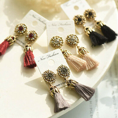 Rhinestone Long Tassel Dangle Earrings for Women Thread Fringe Drop Earrings XTF