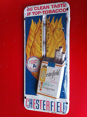 Vintage Thermometer Chesterfield Cigarettes Tin Advertising Metal Sign 50s Rare