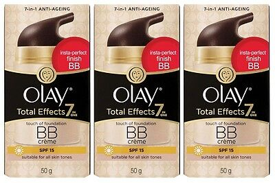 3x *50g* Olay Total Effects 7-In-One Touch of Foundation BB Creme SPF15