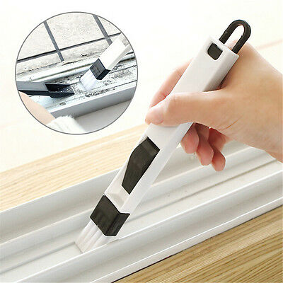 2 In 1 Polished Window Track Cleaning Brush Keyboard Nook Cranny Dust Shovel POZ