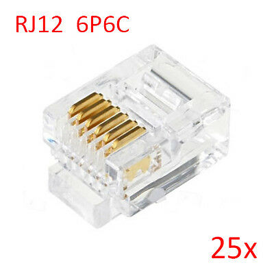 25pcs RJ12 6P6C Modular Plug Connector For RJ12 Telephone Cord