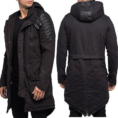 herren parka jacke mantel mit leder optik 9101 1 von 1 siehe mehr. Black Bedroom Furniture Sets. Home Design Ideas