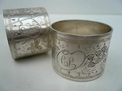 Silver Plated Napkin Rings, Pair, Antique, English, c.1900.