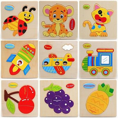 Cute Animals Wooden Educational Toys Jigsaw Puzzle Toddler Toy For Kids HOT