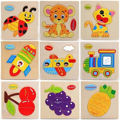 Cute Animals Wooden Educational Toys Jigsaw Puzzle Toy For Kids Children