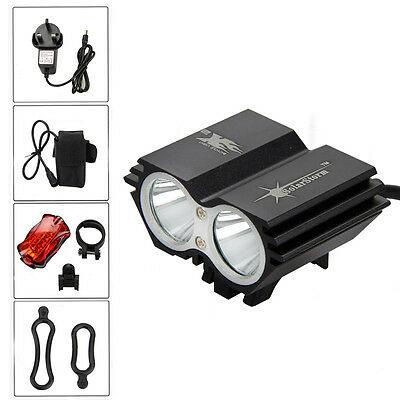 Recharge 5000LM 2x XM-L U2 LED Cycling Bike Bicycle Headlight 6400mAh Rear Light
