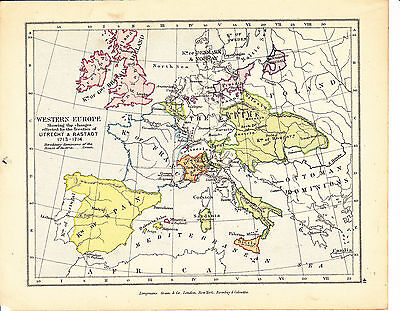 'WESTERN EUROPE 1713-14' - COLOUR  MAP [41] by S.R. GARDINER- 1914