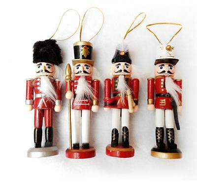 "Nutcracker Solder Figurines For Christmas Decors 4 Pcs Box Set Wood 6"" Height"